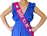 Bride to Be Lace Sash - Bachelorette Party, Bridal Shower & Wedding Party Accessory (Pink & Silver)