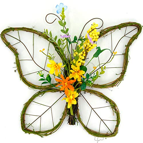 Butterfly Shaped Spring Wreath with Natural Cane, Twigs and -