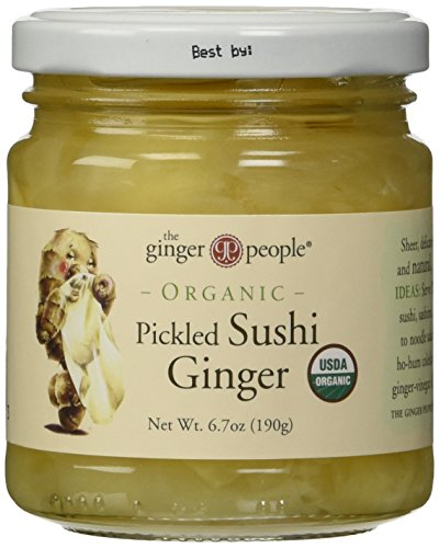 The Ginger People Organic Pickled Sushi Ginger, 6.70-Ounce Glass Bottle