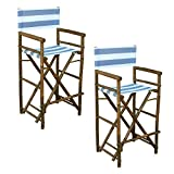 Zew Hand Crafted Tall Foldable Bamboo Director's Chair with Treated Canvas, Set of 2 Chairs, Espresso Finish, Striped Navy