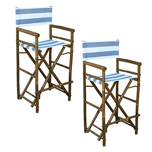 - Zew Hand Crafted Tall Foldable Bamboo Director's Chair with Treated Canvas, Set of 2 Chairs, Espresso Finish, Striped Navy