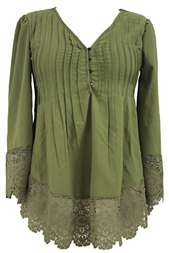 O&W Women Army Green Lace Detail Button Up Sleeved Blouse L