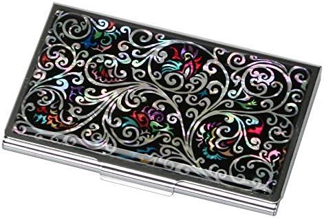 Visitenkartenetui Design Metall Elegant Schwarz Edelstahl Namenskartenetui