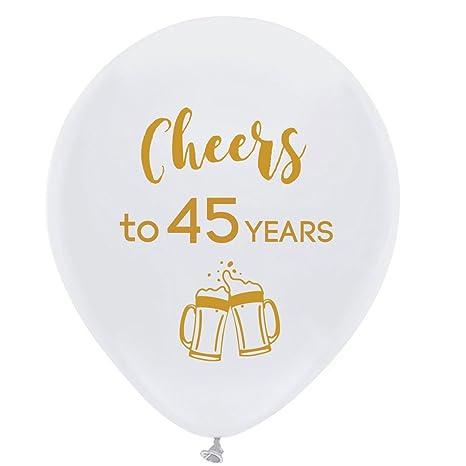 Amazon.com: Blanco Cheers a 45 años de globos de látex, 12 ...