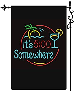 Coskaka Summer 5 O'Clock Somewhere Garden Flag,It's Five Party Flag Vertical Double Sided Buffalo Check Plaid Rustic Weatherproof Black Burlap Yard Lawn Outdoor Decor 12.5x18 Inch