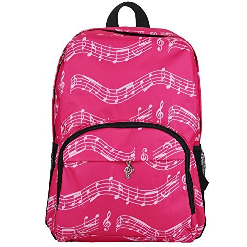 PUNK Oxford Music Note Backpack for School Stylish Art Bookbags Travel Shoulder Bag (4 Color) (Musical Notes Patterns Pink)
