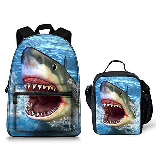 Shark Print Backpack with Side Mesh Pockets and Insulated Lunch Bag Box Food Container - Medium Tablet Box
