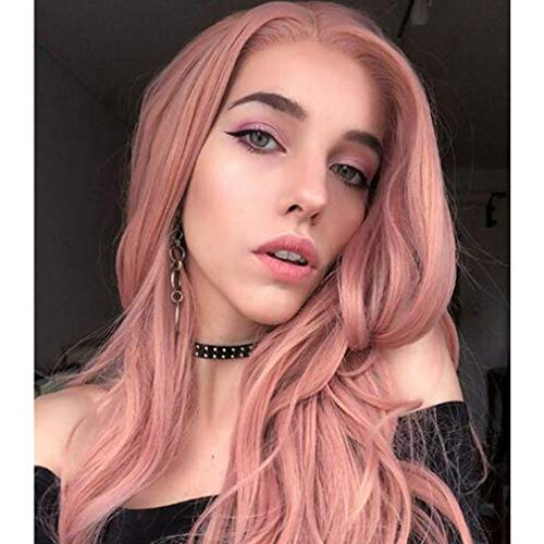 Imstyle Pink Lace Front Wigs Long Natural Wave Rose Gold Synthetic Lace Wig for Women Natural Hairline Heat Resistant Fiber Wigs Glueless Replacement Wigs Half Hand Tied Lolita Wig 22 inch ()