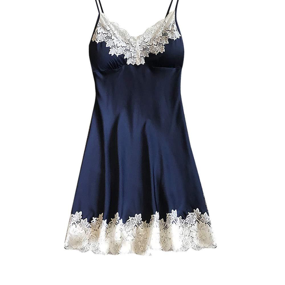 Women Lingerie Satin Sleepwear Sleeveless Lace Splice Nightdress Bandage Sexy Robe with Chest Pads (S, Blue)