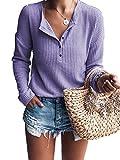 Famulily Women's Long Sleeve Waffle Knit Tunic Blouse Casual Button Up Henley Shirts Plain Tops Purple 2XL