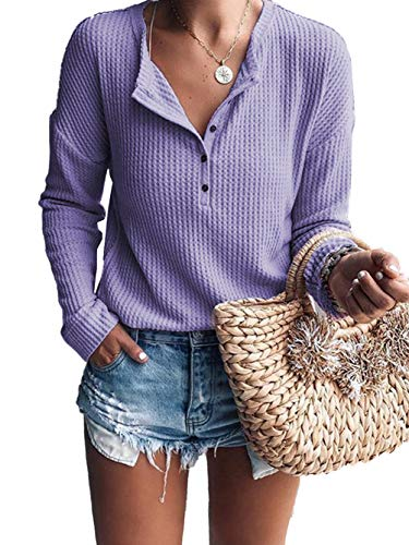 (Famulily Women's Long Sleeve Waffle Knit Tunic Blouse Casual Button Up Henley Shirts Plain Tops Purple M)