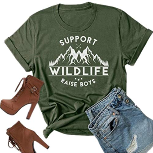 Support Wildlife Raise Boys Mountain Graphic Mom T Shirt Women Letter Print Casual Tees Short Mom Life Tops (X-Large, Army Green)
