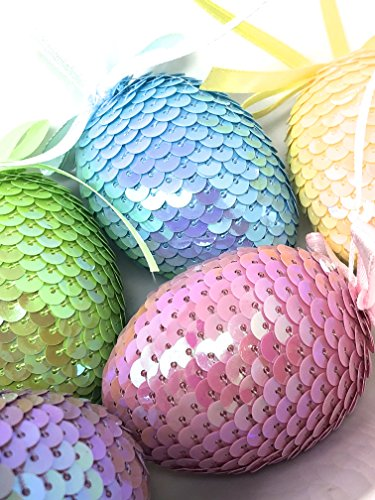 Six (6)-Piece Easter Spring Time Sparkle Sequin Easter Eggs in Purple, Pink, Blue, Green, Yellow and White Ornaments / Vase Filler Eggs (Vase Ornaments)