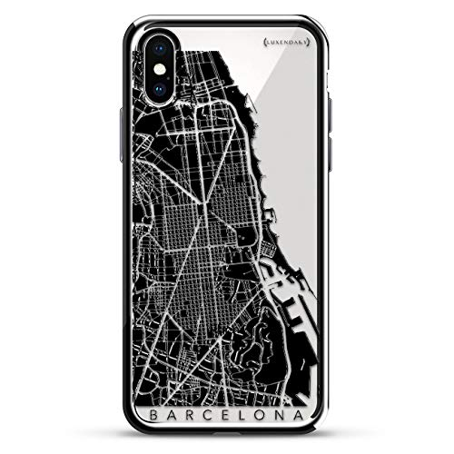 Barcelona Streets Map | Luxendary Chrome Series Designer case for iPhone Xs/X in Silver ()