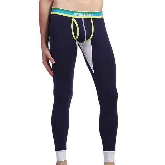 Honghu Algodón Térmicos Pants Long Johns Ropa interior Leggings Hombre Tamaño S Azul Real
