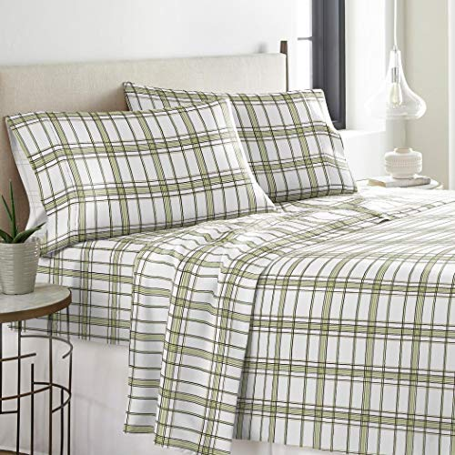 4 Piece Deep Pocket Sage Green White Full Sheet Set, Plaid Pattern Themed Flannel Bedding Cozy Shabby Chic Warm Heavyweight Pretty Trendy Rich Fun Soft Comfortable, Cotton