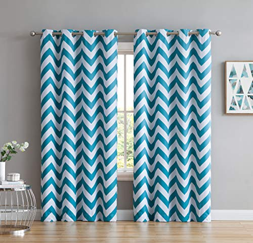 2 Tone Room - HLC.ME Chevron Print Thermal Insulated Energy Efficient Room Darkening Blackout Window Curtain Grommet Top Panels for Bedroom & Play Room - Set of 2 - 52