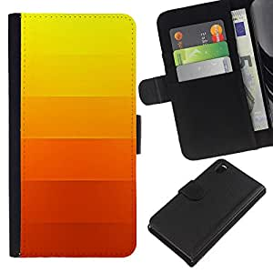 iBinBang / Flip Funda de Cuero Case Cover - Gradiente de color Rayas Naranja Amarillo - Sony Xperia Z3 D6603 / D6633 / D6643 / D6653 / D6616