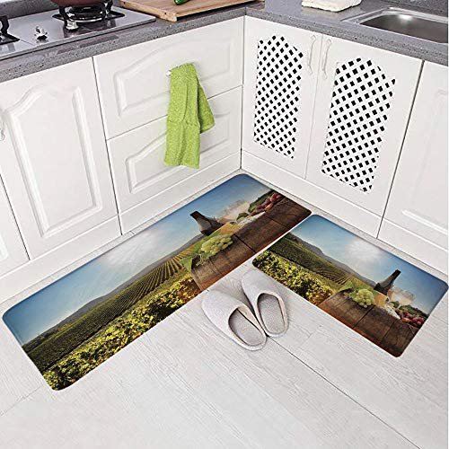 2 Piece Non-Slip Kitchen Mat Rug Set Doormat 3D Print,Famous Vineyard in Chianti Tuscany Agriculture,Bedroom Living Room Coffee Table Household Skin Care Carpet Window Mat,