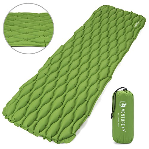Ultralight Sleeping Pad by VENTURE 4TH | Lightweight, Compact, Durable, Tear Resistant, Supportive and Comfy | For Camping , Traveling , Lounging , Sleeping Bags , Hammocks , Hiking and More | (Expedition Sleeping Pad)
