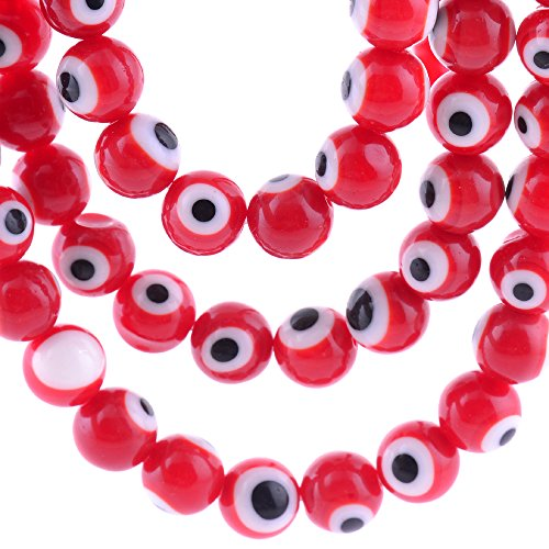 6mm 200 Pcs Evil Eye Glass Beads Red Colors of Jewelry Findings for Bracelet,Necklace or Others]()