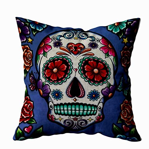 Musesh sugar skull pillow Cushions Case Throw Pillow Cover For Sofa Home Decorative Pillowslip Gift Ideas Household Pillowcase Zippered Pillow Covers 18x18Inch