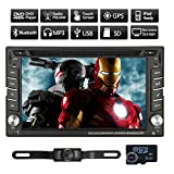 6.2 inch HD Resistive Touch Screen 2 Din Car Audio Stereo Head Unit GPS Navigation Car DVD CD MP3 Player Universal 2Din In dash Car Radio with FM AM RDS + Car Video MP3 Player +3D GPS Northern America Map + USB SD AUX Input + Subwoofer Mic +GPS Antenna+8GB GPS Map TF Card +Bluetooth + Free Backup Camera+Steering wheel control