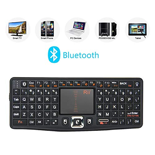 (Backlit Version) Rii Bluetooth Mini QWERTY Keyboard Adjustable DPI Touchpad for PC, HTPC, Apple, Xbox360, Wii, PS3, Black (N7 BT)