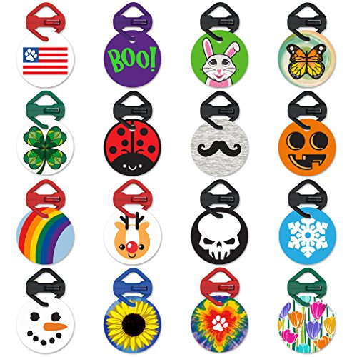 Holiday and Seasonal Pawdentify Pet Tag & Links-It with Kevlar Tag Clip - For Dogs & Cats - Easy to Read & Easy to Attach - Made in USA - - Dog Tag Bunny