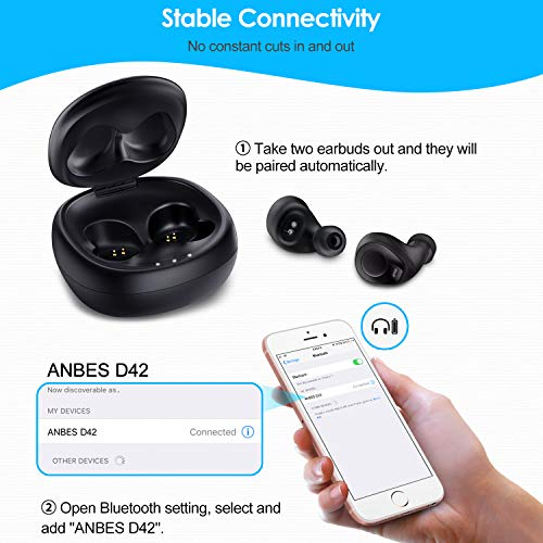 Anbes Wireless Earbuds, D42 Bluetooth 5.0 Wireless Headphones IPX5 Waterproof 18H Playtime Noise Cancelling 3D Stereo Deep Bass in-Ear Headset with Built-in Microphone, Volume Control by ANBES (Image #3)