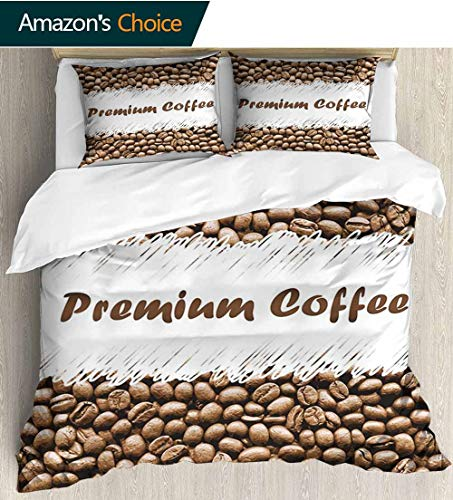 "Coffee 3 Piece Quilt Coverlet Bedspread,Freshly Roasted Arabica Beans Premium Quality Doodle White Border Being Robust All Season Lightweight Colorblock Kids Bedding Set 104""W x 90""L Cocoa White"