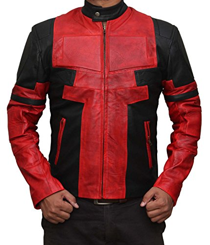 Mens Black and Red Deadpool Leather Jacket | Deadpool1, 2XL -