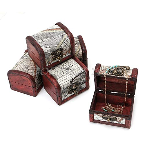 Wooden Chest Box - Wooden Pirate Map Jewellery Storage Box Case Holder Vintage Treasure Chest - Storage Boxes Bins Storage Boxes Bins Wood Chest Butterfly Wooden Jewerly Display Lady Death F
