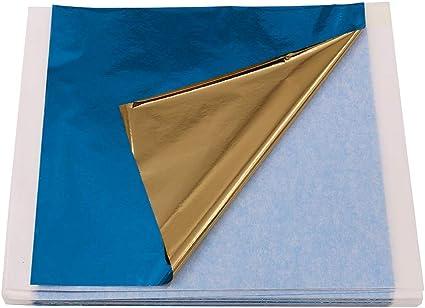 Arts Project Furniture Decorations Imitation Gold Foil Leaf Sheets 3.15 x 3.35 Loose Leaf VGSEBA 100 Pieces Blue Metal Leaf Papers Perfect Choice for Gilding Crafts