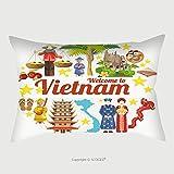 Custom Satin Pillowcase Protector Travel To Vietnam Set Of Traditional Vietnamese Cultural Symbols Vietnamese Landmarks And 478099915 Pillow Case Covers Decorative