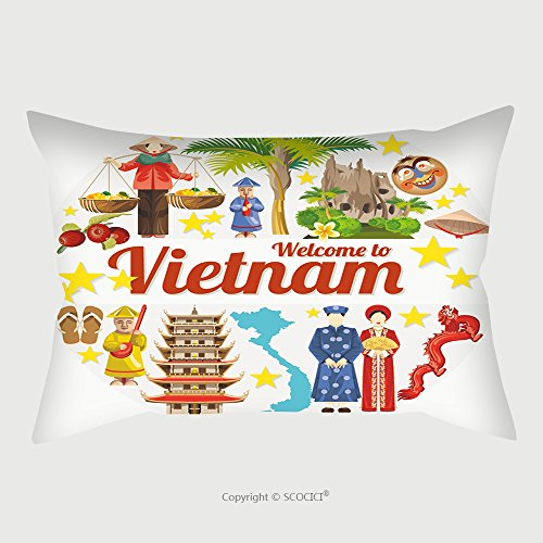 Custom Satin Pillowcase Protector Travel To Vietnam Set Of Traditional Vietnamese Cultural Symbols Vietnamese Landmarks And 478099915 Pillow Case Covers Decorative by chaoran