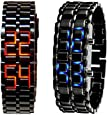Abco Tech Lava Style Iron Samurai Black Bracelet LED Japanese Inspired Watch RED / BLUE **2 PACK**