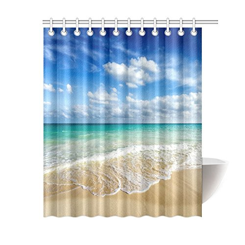 InterestPrint Beach Ocean Theme Shower Curtain, Wavy Ocean S