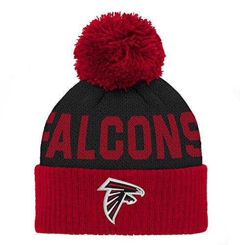 Outerstuff NFL Baby Jacquard Cuffed Knit Hat with Pom, Crimson, Infant One Size (Atlanta Beanie With Pom)