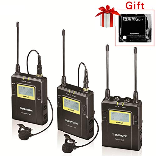 - Saramonic UwMic9 96-Channel UHF Wireless Lavalier Microphone System Two Transmitters and One Receiver for DSLR & Camcorder Video
