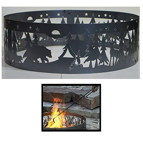 Quality Brand Company QBC Bundled PD Metals Steel Campfire Ring Northwoods Campground Design - Unpainted - with Fire Poker - Extra Large 60 d x 12 h - Plus Free - Northwoods Fire Ring