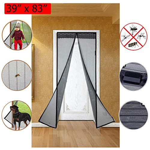 WiseHome Magnetic Screen Door Polyester Mesh Curtain with Super Durable Magnets and Full Frame Velcro for Sliding Glass Door French Door Patio Door Shut Automatically Fits Door Size 39'' x 83'' by WiseHome