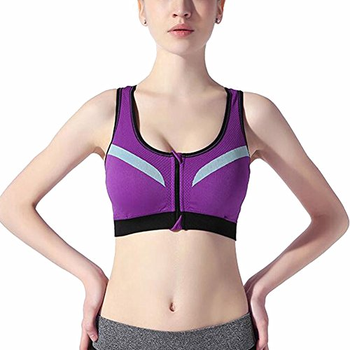 SUITEASY Women's Zipper Front Sports Bra Double Layer Push Up Wirefree Racerback (Medium, Purple)