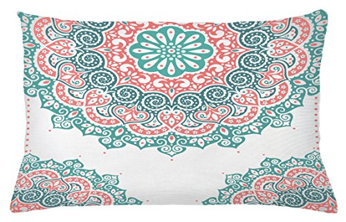 Henna Throw Pillow Cushion Cover by Ambesonne, Soft Colored Mandala South Asian Culture Inspired Ethnic Style Floral Image, Decorative Accent Pillow Case, 26 W X 16 L Inches, Turquoise Coral Teal (Pillows Coral Colored)