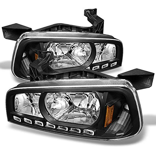 For 06-10 Dodge Charger Black 1 Piece DRL LED Headlights w/Corner Turn Signal Lamps Left + Right Pair