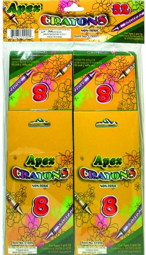 Apex Crayons 8ct- 4pk - boxed - 32 total crayons 48 pcs sku# 1277289MA by DDI