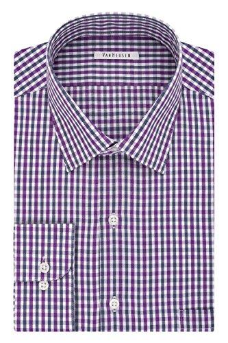 Van Heusen Men's Regular Fit Tattersall Spread Collar Dress Shirt, Royal Plum, 15
