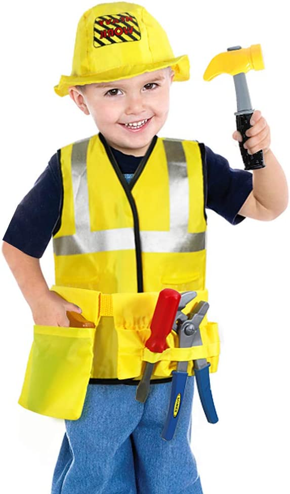 4-12 CHILDRENS KIDS BOYS CONSTRUCTION WORKER BUILDER FANCY DRESS COSTUME OUTFIT