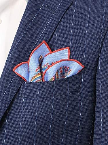 (ザ・スーツカンパニー) MADE IN ENGLAND/シルクポケットチーフ ブルー×ネイビー×オレンジ