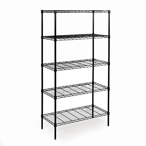 Seville Classics 5-Tier Black Epoxy Steel Wire Shelving, 14